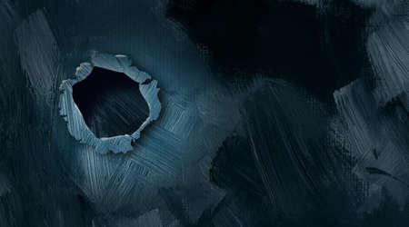 Ilustración gráfica del agujero en la pared de la explosión con trazos de pincel con textura Foto de archivo - 60609585