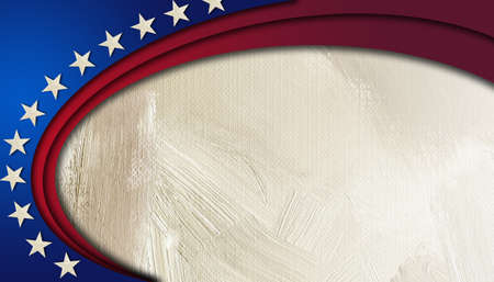 Graphic digital illustration of American flag components in sweeping circular shape on abstract oil paint background