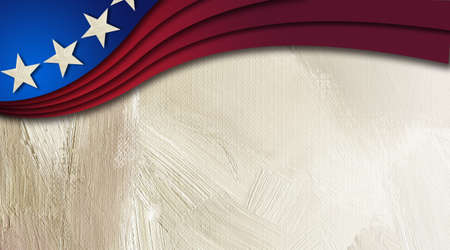 Graphic digital illustration of American flag components in sweeping wave on abstract oil paint background