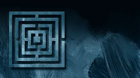 escape route: Graphic illustration of geometric maze on abstract background of textured brush strokes