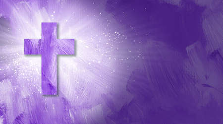 Graphic digital illustration of the Cross of Jesus and glowing rays of light.  Energetic conceptual composition of spattered paint and textured brush strokes.