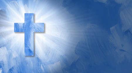 グラフィックのデジタル イラストレーション イエスの十字架の光の輝くビーム。 テクスチャ ブラシ ストロークのエネルギッシュな概念的な構成。