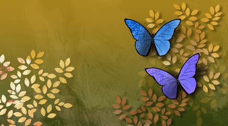 Graphic digital illustration of simple leaves and butterflies against a hand painted textured background