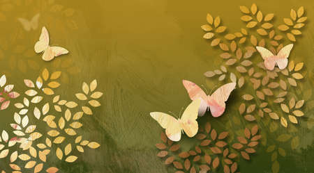 fanciful: Graphic digital illustration of simple leaves and butterflies against a hand painted textured background