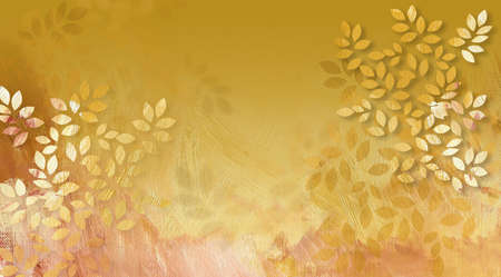 Graphic digital illustration of simple leaves with hand painted textured brush strokes