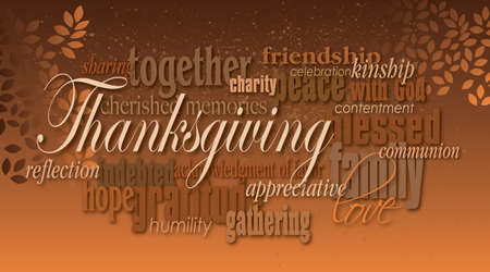 Graphic typographic montage illustration of the word Thanksgiving composed of associated terms and defining words in neutral tones. A pair of autumn leaves completes this dramatic, inspirational design. Imagens