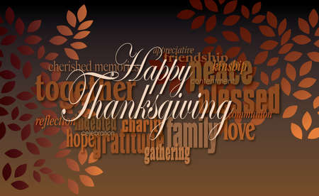 Graphic typographic montage illustration of the sentiment Happy Thanksgiving composed of associated terms, and simple graphic leaves in warm autumn tones. An inspirational, uplifting contemporary design. Imagens