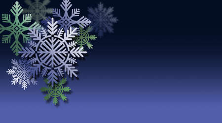 Graphic composition of Christmas tree holiday Snowflake Ornaments for possible use as greeting card or banner. Imagens