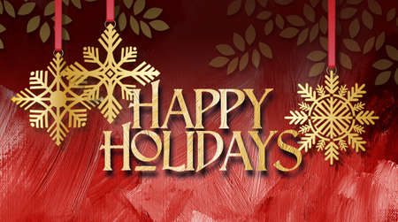 Graphic composition of golden holiday snowflake ornaments and stylized Christmas tree branches on a red brush stroke textured background with the message Happy Holidays for possible use as greeting card or banner.