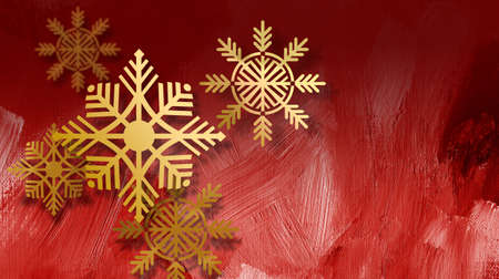 Graphic composition of golden holiday snowflake ornaments a red paint brushstroke textured background for possible use as greeting card or banner. Imagens