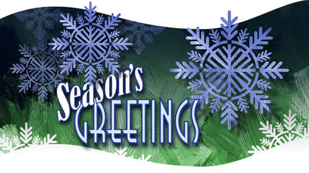 Graphic composition of Christmas tree holiday Snowflake Ornaments on paint brush stroke textured background with the message Seasons Greetings for possible use as greeting card or banner. Imagens