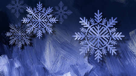 Graphic composition of holiday snowflake ornaments on a blue brush stroke textured background for possible use as greeting card or banner. Imagens