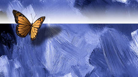 Graphic digital illustration of iconic butterfly with cast shadow against hand painted textured blue background.