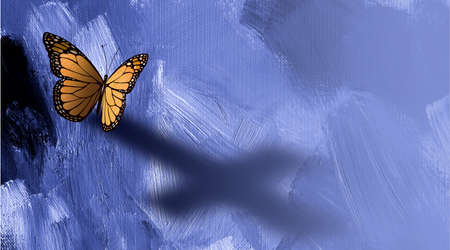 Graphic conceptual illustration of iconic butterfly casting a shadodw of the Christian cross of Jesus against a painted textured background