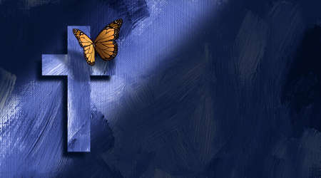 Dramatic graphic illustration of the Christian cross of Jesus Christ with butterfly against a hand painted textured background