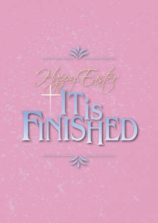 Graphic composition of Happy Easter Holiday message against pastel background and soft pink grunge pattern. Art is suitable for greeting card design and general holiday layouts. Imagens