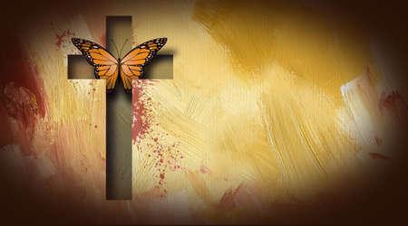 Composición gráfica de la cruz de Jesús liberando una hermosa mariposa. Arte conveniente para el uso posible como cubierta de la tarjeta de felicitación así como imagen independiente. Foto de archivo - 76049385