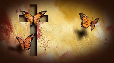 Composición gráfica de la cruz de Jesús liberando un trío de bellas mariposas. Arte adecuado para su posible uso como portada de la tarjeta de felicitación, así como imagen independiente. Foto de archivo - 76049387