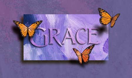 """Composizione grafica del concetto biblico Christan di """"Grace"""". Arte digitale composta di tipo e illustrazione contro sfondo dipinto a mano"""