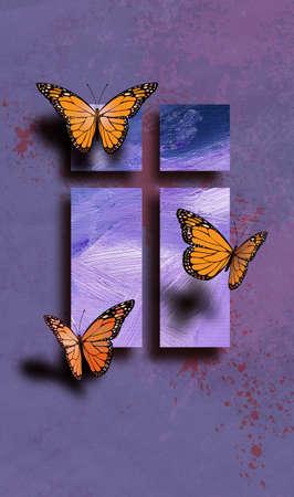 Composición geométrica gráfica de la cruz de Jesús rodeada por el trío de las mariposas delicadas. Arte conveniente para el uso como cubierta de la tarjeta de felicitación tan bien como imagen independiente. Foto de archivo - 76049389