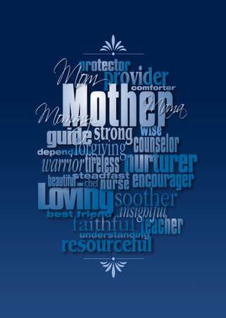 적합: 어머니의 성격 특성의 그래픽 구성. 인사말 카드 디자인이나 어머니를 기리기위한 다른 용도로 사용하기에 적합한 미술.