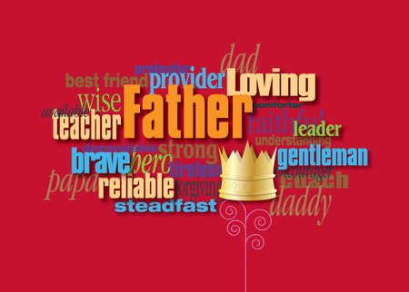 Graphic composition of personality traits of a father.  Art suitable for use as Fathers Day greeting card design or other creative tribute to Dads. 스톡 콘텐츠