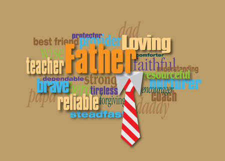 Graphic composition of personality traits of a father.  Art suitable for use as a fun Fathers Day greeting card design or other creative tribute to Dads. 스톡 콘텐츠