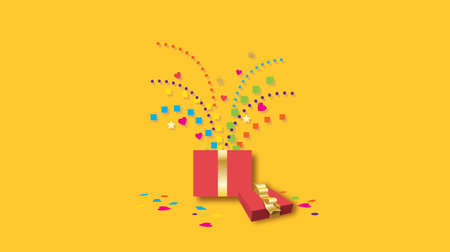 Graphic composition of gift box and ribbon with a fun, playful burst of geometric confetti. Possible use as birthday or similar celebration greeting card.