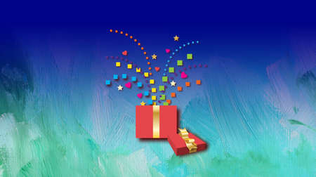 Composición gráfica de la caja de regalo de diversión y cinta con diversión, explosión juguetona de confeti geométrico. Posible uso como cumpleaños o tarjeta de felicitación de celebración similar. Foto de archivo - 84212763