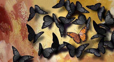 Ilustración gráfica de la icónica, hermosa, completamente desarrollada mariposa monarca entre una gran multitud de grises comunes, negros. Ilustración conceptual simple de ser único. Foto de archivo - 84212764