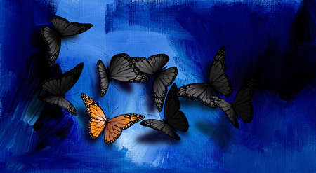 Graphic illustration of beautiful, fully developed Monarch Butterfly among common gray, black ones.  Composition against hand painted blue oil paint background