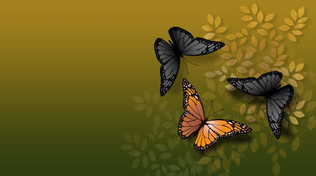 Graphic illustration of beautiful, fully developed Monarch Butterfly confronted by undeveloped  gray, black ones. Simple geometric graphic leaves serve as background. 스톡 콘텐츠
