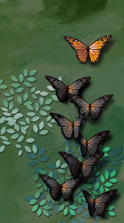 Graphic illustration of beautiful, fully developed Monarch Butterfly leading a group of young undeveopled gray, black ones. Conceptual graphic of teaching or leadership. Stok Fotoğraf