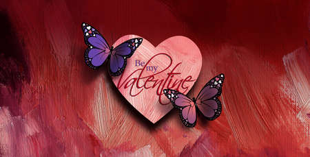 Graphic composition of the sentiment Be My Valentine with two colorful Butterflies and Love Heart against rosy colored paint brush textured background. Butterflies have holiday love heart details on their wings. Art suitable as possible holiday greeting card. 스톡 콘텐츠