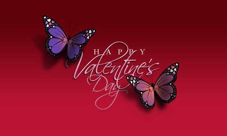Composição gráfica do sentimento feliz dia dos namorados com duas borboletas coloridas. Borboletas têm detalhes de coração de amor de férias em suas asas. Use como possível cartão de férias. Foto de archivo - 94766905