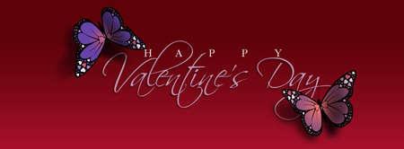 Composição gráfica do sentimento feliz dia dos namorados com duas borboletas coloridas. Borboletas têm detalhes de coração de amor de férias em suas asas. Foto de archivo - 94574724