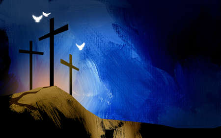 Graphic illustration of the Christian crosses at Calvary where Jesus Christ was crucified as a sacrifice for our sins. Digital rendition of the scene of the basis of Biblical Gospel. Doves representative of the spiritual nature and presence of God