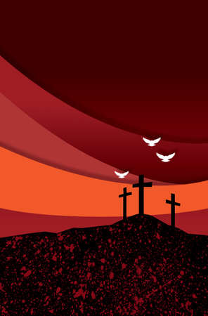 Graphic abstract illustration of the Christian crosses at Calvary where Jesus Christ was crucified as a sacrifice for our sins.