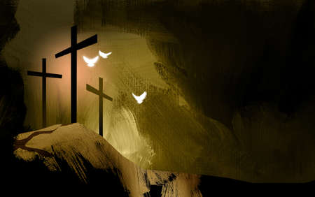 Graphic illustration of the Christian crosses at Calvary where Jesus Christ was crucified as a sacrifice for our sins. Digital rendition of the scene of the basis of Biblical Gospel. Doves representative of the spiritual nature and presence of God. Stock Photo