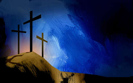 Graphic illustration of the Christian crosses at Calvary where Jesus Christ was crucified as a sacrifice for our sins. Digital rendition of the scene of the basis of Biblical Gospel.