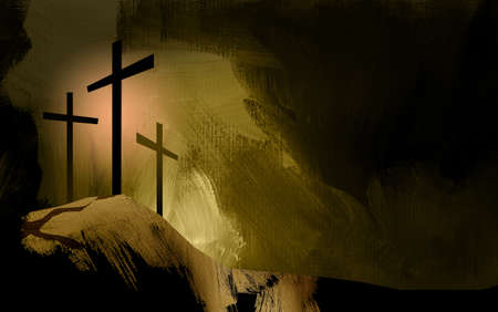 Graphic illustration of the Christian crosses at Calvary where Jesus Christ was crucified as a sacrifice for our sins. Digital rendition of the scene of the basis of Biblical Gospel in golden tones. Doves representative of the spiritual nature and presence of God Archivio Fotografico