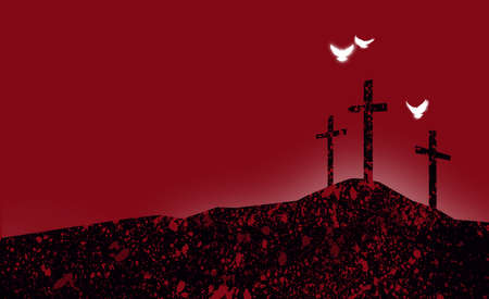 Abstract illustration of the Christian crosses at Calvary where Jesus Christ was crucified as a sacrifice for our sins. Digital rendition of the scene of the basis of Biblical Gospel in graphic reds and black. Doves representative of the spiritual nature and presence of God.