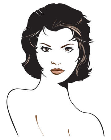 Original stylized graphic illustration of woman's face with short black hair and dramatic eye contact. Possible themes include beauty, fashion, mystery and fantasy. 스톡 콘텐츠