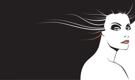 Original stylized graphic illustration of womans face with long flowing black hair and dramatic eye contact. Possible themes include beauty, fashion, mystery and fantasy.