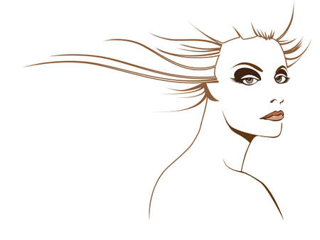 Original stylized graphic illustration of womans face with stylized flowing brown hair and dramatic eye contact. Possible themes include beauty, fashion, mystery and fantasy.