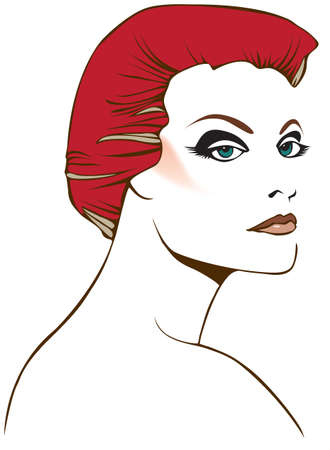 Original stylized graphic illustration of womans face with short red hair and dramatic eye contact. Possible themes include beauty, fashion, mystery and fantasy.