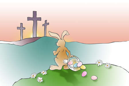 Colorful illustration of imaginary scene of the Easter Bunny, with Easter basket of pastel color decorated eggs, comes across the Christian cross of Jesus Christ�s crucifixion as recorded in the Bible. Simple, contemplative art for the Easter holiday. Use as possible greeting card art.