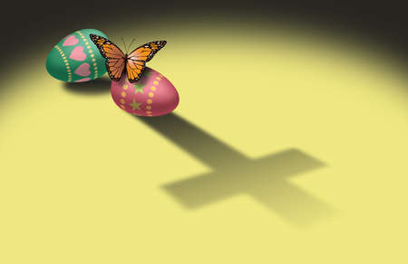 Graphic illustration of Monarch Butterfly resting on decorated Easter Egg with cast shadow of the Christian cross of Jesus Christ. Simple, dramatic image for use as possible greeting card design or stand alone holiday art.  스톡 콘텐츠