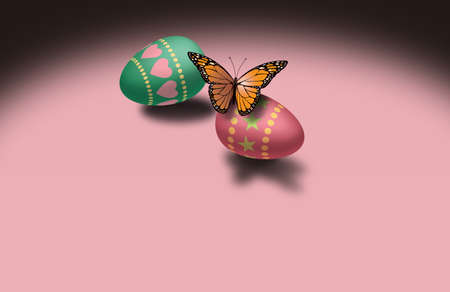 Graphic illustration of Monarch Butterfly resting on decorated Easter Egg. Simple, metaphoric image for use as possible greeting card design or stand alone holiday art. Room for customized message below main art.