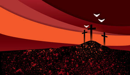 Conceptual graphic of Christian crosses at Calvary, the scene of Jesus Christ�s glorious sacrifice of forgiveness and love. Stock fotó